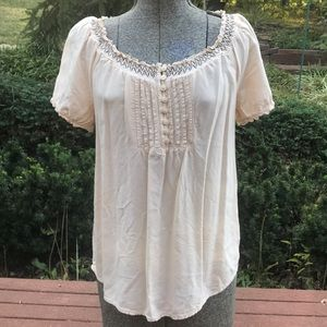 Faded Glory Size M Cream Colored Peasant Shirt